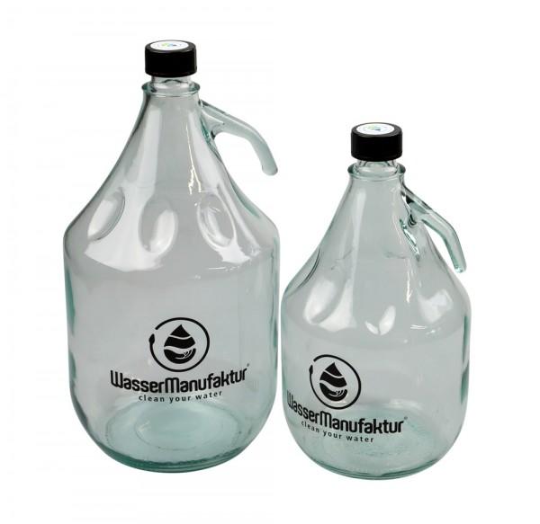 Wasserflasche Glas mit Henkel und Schraubverschluss
